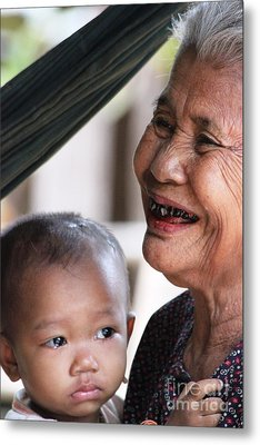 Metal Print featuring the photograph Cambodian Grandmother And Baby #2 by Nola Lee Kelsey