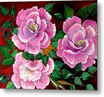 Camellias Metal Print by Fram Cama