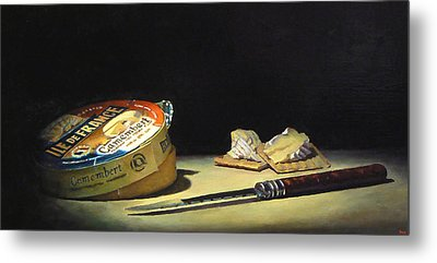 Camembert Knife And Crackers Metal Print by Jeffrey Hayes