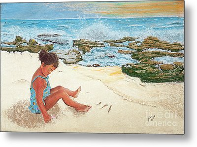 Camila And The Carribean Sea Metal Print by Jim Barber Hove