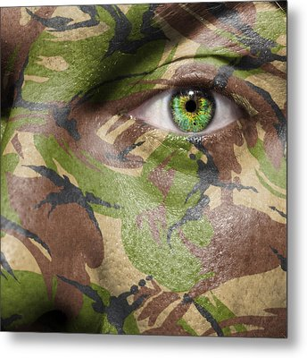 Camouflage Warrior Metal Print