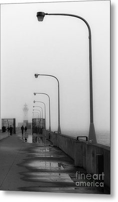 Canal Park Lighthouse In Fog Metal Print by Mark David Zahn
