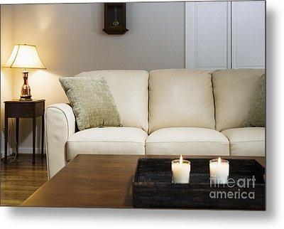 Candlelit Living Room Metal Print by Andersen Ross