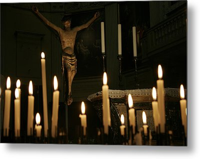 Candles And Saint Inside A Cathedral Metal Print by Gina Martin