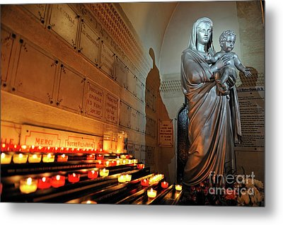 Candles And Virgin Mary With Infant Metal Print by Sami Sarkis