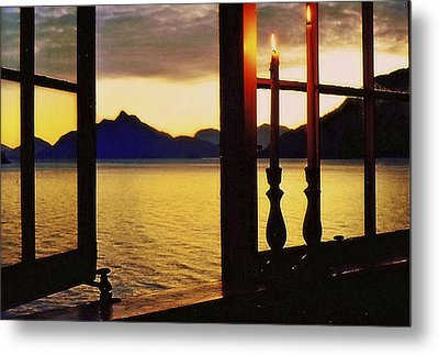 Metal Print featuring the photograph Candles In The Window by Michael Dohnalek