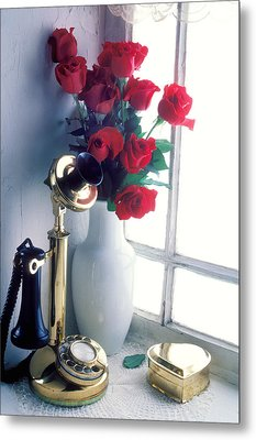 Candlestick Phone In Window Metal Print by Garry Gay