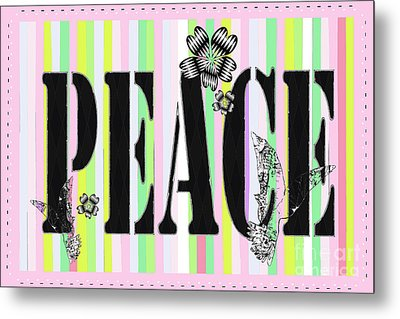 Candy Stripe Peace Juvenile Licensing Metal Print by Anahi DeCandy