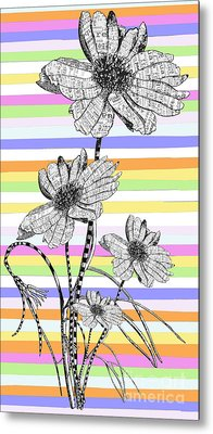 Candy Stripes Happy Flowers Juvenile Licensing Metal Print by Anahi DeCanio