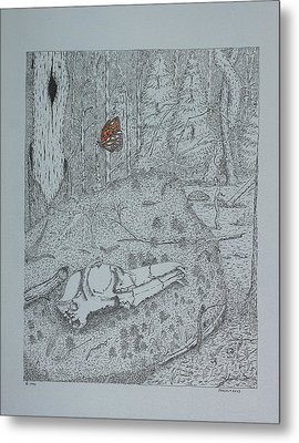 Canine Skull And Butterfly Metal Print