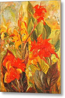 Canna Lilies Metal Print by Alexandra Maria Ethlyn Cheshire
