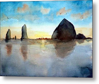Metal Print featuring the painting Cannon Beach Sunset by Chriss Pagani