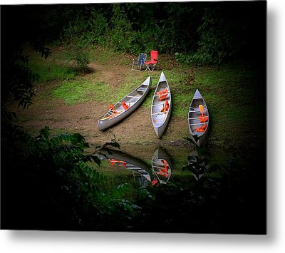 Canoe Bank Metal Print by Michael L Kimble