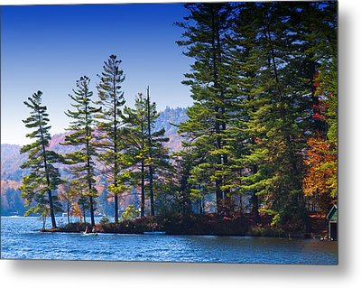 Canoeing In The Fall Metal Print by David Patterson