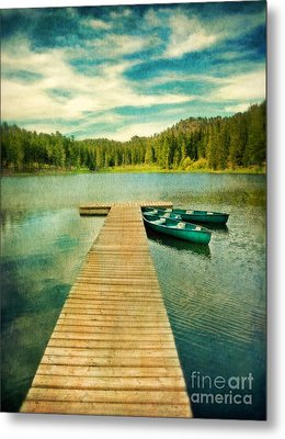 Canoes At The End Of The Dock Metal Print by Jill Battaglia