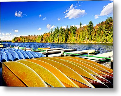 Canoes On Autumn Lake Metal Print by Elena Elisseeva
