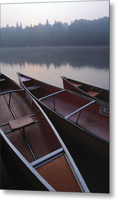 Canoes On Still Water Metal Print by Natural Selection John Reddy