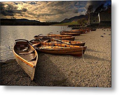 Canoes On The Shore, Keswick, Cumbria Metal Print by John Short