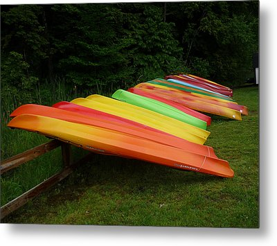 Canoes  Metal Print by Pamela Turner