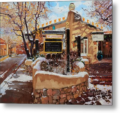 Canyon Road Winter Metal Print