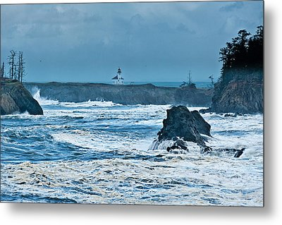 Cape Arago Light House Metal Print by Alvin Kroon