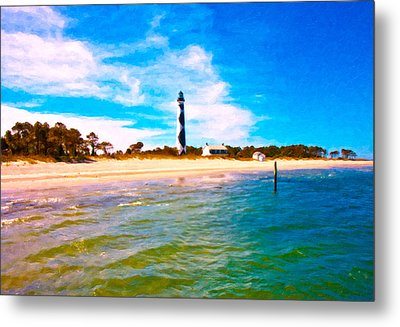 Cape Lookout Shore And Lighthouse Metal Print by Betsy Knapp