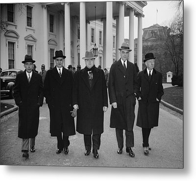 Capital And Labor Leaders Leaving Metal Print by Everett