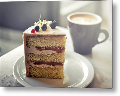 Cappuccino And Cake Metal Print by Amparo E. Rios
