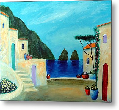 Metal Print featuring the painting Capri Villa by Larry Cirigliano