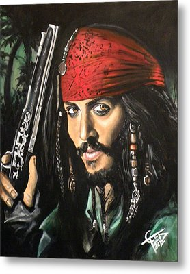 Captain Jack Sparrow Metal Print by Tom Carlton