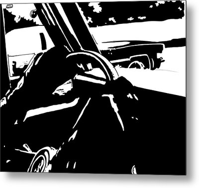 Car Passing Metal Print