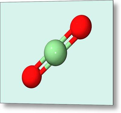 Carbon Dioxide Molecule Metal Print by Dr Tim Evans