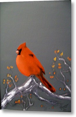 Metal Print featuring the painting Cardinal by Al  Johannessen