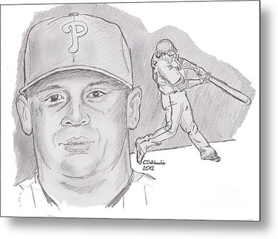 Metal Print featuring the drawing Carlos Ruiz by Chris  DelVecchio