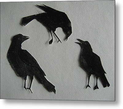 Carl's Crows Metal Print