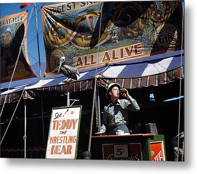 Carnival Barker, At The Vermont State Metal Print by Everett