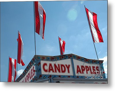Carnival Festival Fair Candy Apples And Flag Stand Metal Print by Kathy Fornal