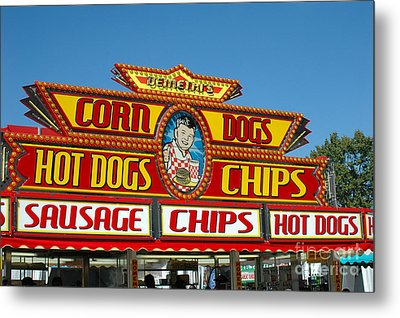 Carnival Festival Fun Fair Hot Dog Stand Metal Print by Kathy Fornal