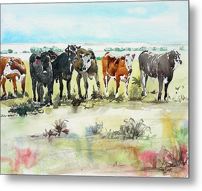 Metal Print featuring the painting Carol's Cows by Tom Riggs