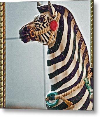 Carousel Zebra Metal Print by Bill Owen