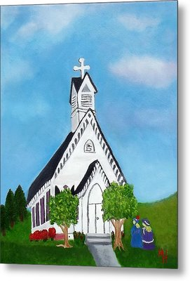 Metal Print featuring the painting Carpenter Gothic Church In Louisiana by Margaret Harmon