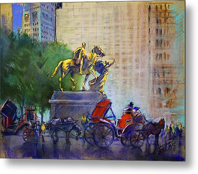 Carriage Rides In Nyc Metal Print by Ylli Haruni