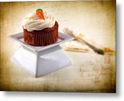 Carrot Cupcake Metal Print by James Bethanis