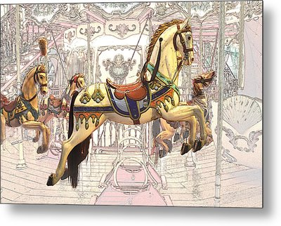 Carrousel With Horses Metal Print by Radoslav Nedelchev