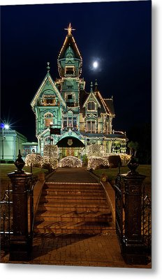 Carson Mansion At Christmas With Moon Metal Print by Greg Nyquist