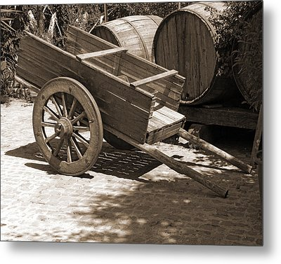 Cart And Wine Barrels In Italy Metal Print by Greg Matchick