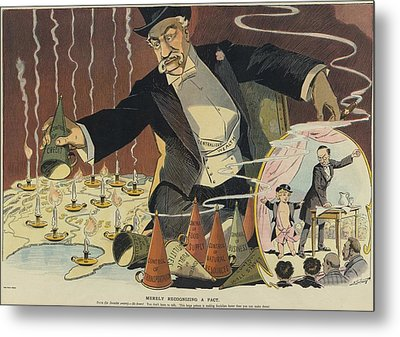 Cartoon Depicting A Giant Businessman Metal Print by Everett