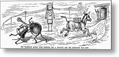 Cartoon: Telephone, 1886 Metal Print by Granger
