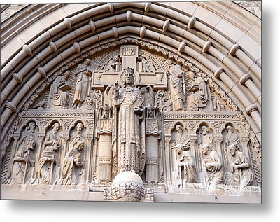 Carved Stone Biblical Mural Above Catholic Cathedral Doorway  Metal Print by Gary Whitton