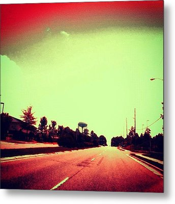 #cary #driving #sky #red #watertower Metal Print by Katie Williams